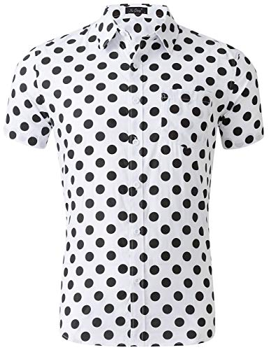- XI PENG Men's Tropical Short Sleeve Floral Print Beach Aloha Hawaiian Shirt (White Black Polka Dot, X-Large)