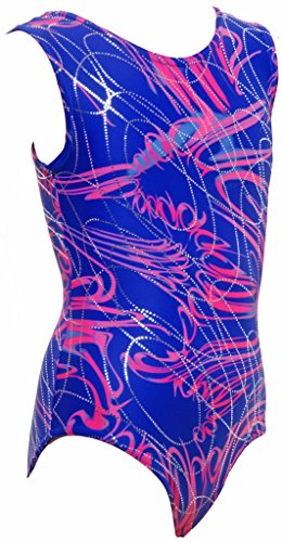 Olympique With Silver Multi Foil Multicoloured Gymnastic Cadiz Pink a Purple and 2986 Metallic Leotard Overlaid Sleeveless Print Gym UqrxwOUP