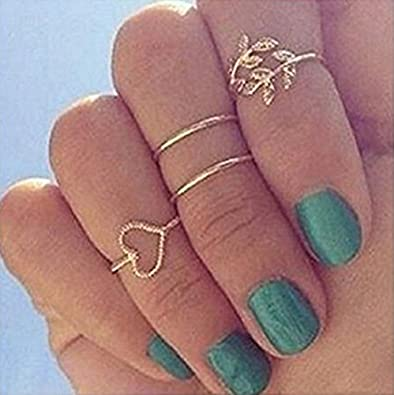 fb7c563a8 Amazon.com: NEROY Fashion Gold Plated Leaf Heart Joint Knuckle Nail ...