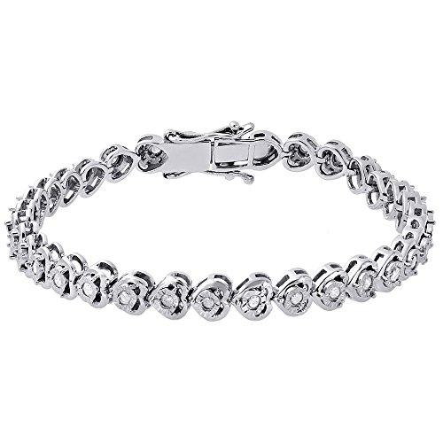 Diamond Cut Heart Link Bracelet - .925 Sterling Silver Round Cut Fanuk Set Diamond Sideways Heart Link Tennis Bracelet 1 Cttw