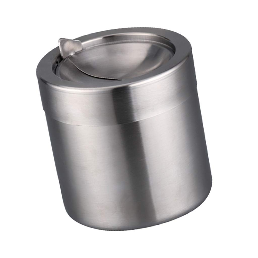 Prettyia Mini Stainless Steel Desk Trash Bin Countertop Waste Can Rubbish Bin Dustbin, Simple design, beautiful and generous, can keep simple and elegant decoration in your desk - Silver