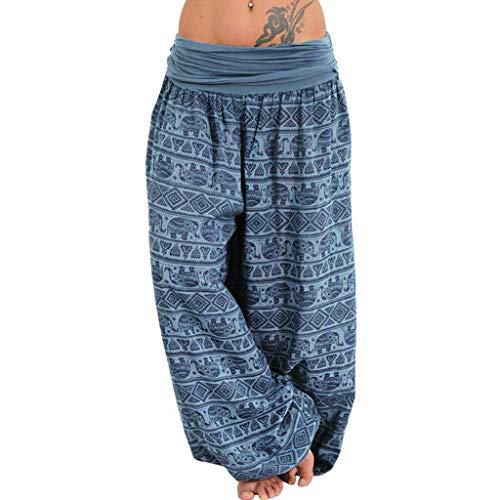 CCatyam Plus Size Pants for Women, Yoga Trousers Wide Leg Print Sexy Loose Casual Fashion Blue