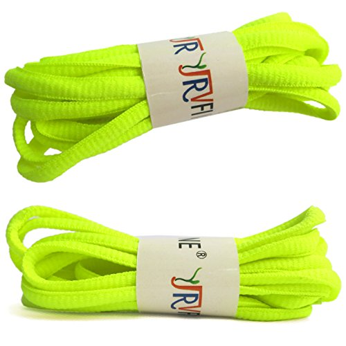 YJRVFINE 2 Pair Oval Running Shoelace Sport Shoe Laces String Shoelaces Light Yellow Green - Length:51.18