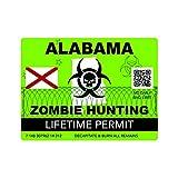 Zombie Alabama State Hunting Permit Sticker Self Adhesive Vinyl Decal AL
