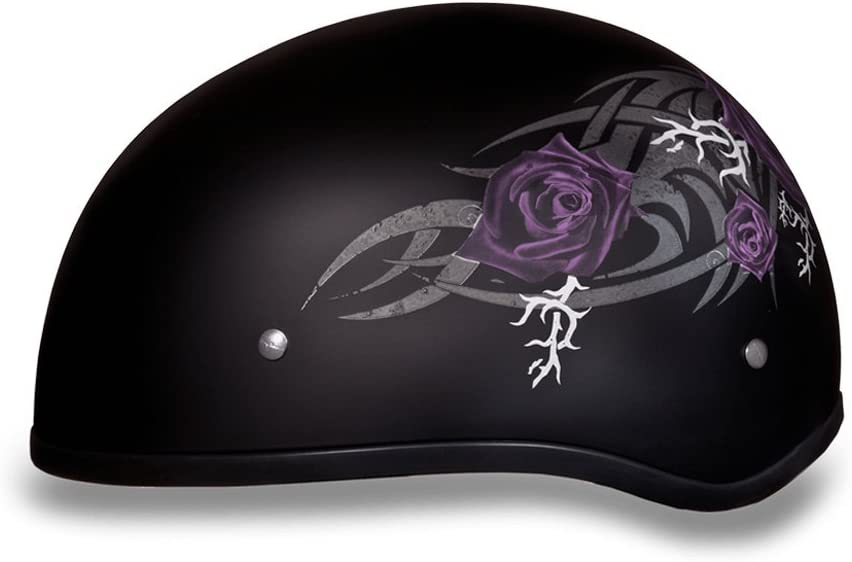 Purple Rose 100/% DOT Approved Daytona Helmets Motorcycle Half Helmet Skull Cap