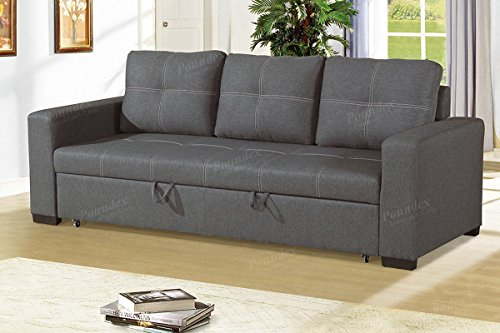 Modern Functional Blue Grey Linen-Like Fabric Convertible Sofa with Pull-Out Bed by Advanced Furniture