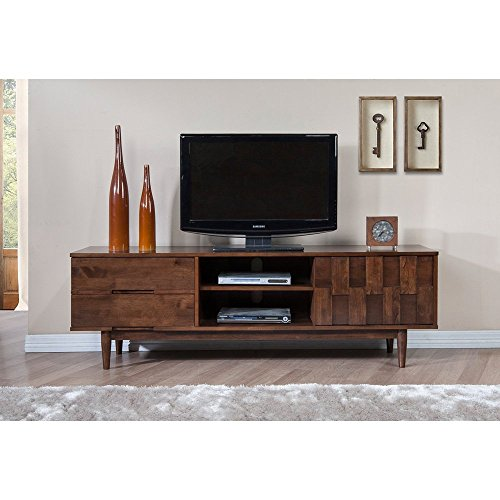(ModHaus Living Mid Century Danish Style Wood 70 inch Media Console TV Stand in Rich Finish with 2 Drawers - Includes Pen)