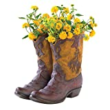NEW RUSTIC COWBOY BOOT PLANTER FLOWER POT WESTERN GARDEN YARD PATIO DECOR - GIFT