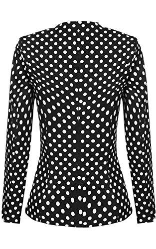 Polka Con Tailleur Semplice Pizzo Da Manica Giacca Glamorous Volant Suit Giuntura Leisure Modern Bianca Stile Lunga Casual Autunno Di Dots Outerwear Giubotto Donna W6nqag8xW