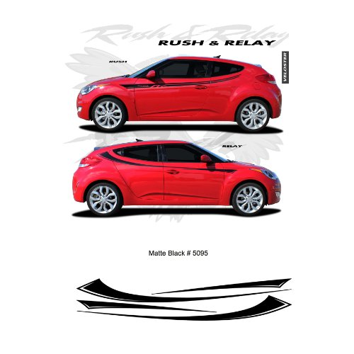 CarBeyondStore Hyundai Veloster Matte Black Body Side Stripes Graphic Kit