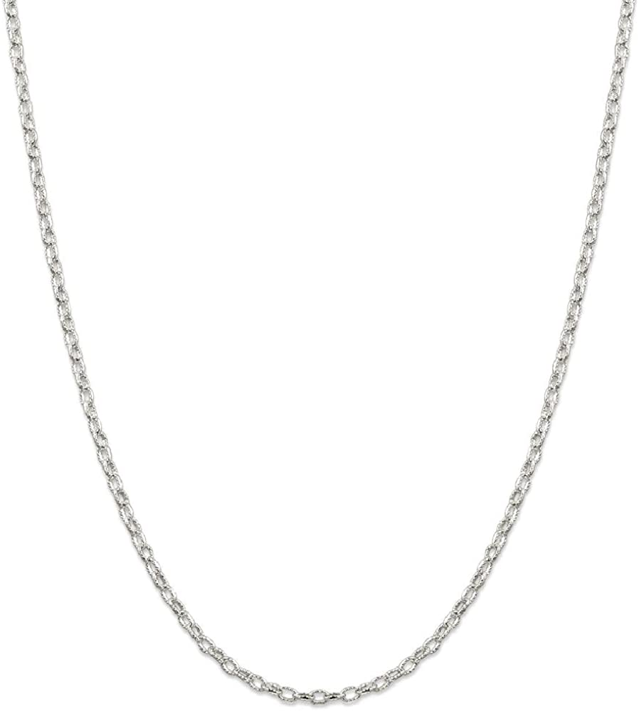 925 Sterling Silver 3mm Rolo Necklace Chain Pendant Charm Fancy Fine Jewelry Gifts For Women For Her