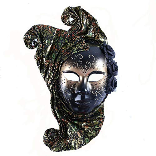 Luxury Masquerade Mask Jolly Jester Cosplay Mardi Gras Prom Dance Birthday Party Wear or Deco Black (Masquerade Masks Mens Jester)