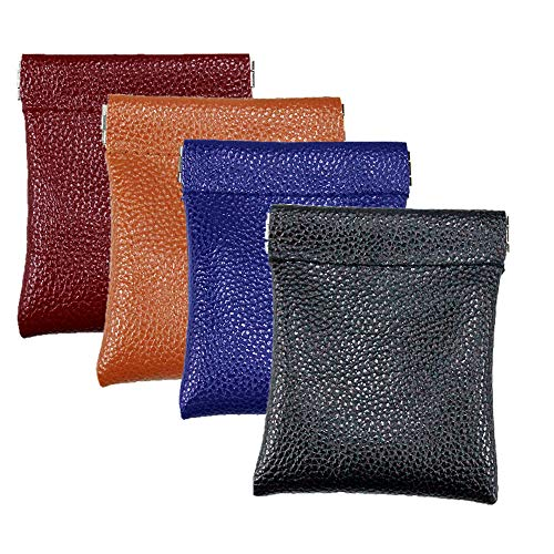 Pack of 4 PU Leather Pouch Squeeze Coin Purse Women&Men Mini Wallet Money Earphone Organizer Holder