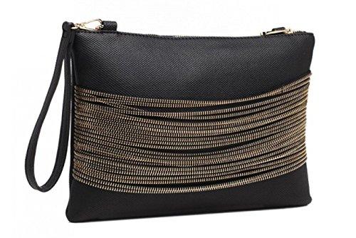 Bessie Bags Ladies Black or Brown Leather Look Clutch Bag Black