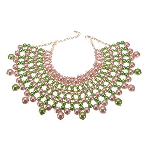- Jerollin Fashion Jewelry Necklace CCB Resin Beads Chain Charm Choker Chunky Statement Bib Necklace (Green+Pink)