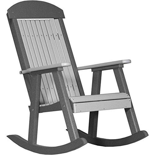LuxCraft PolyTuf Outdoor Poly Porch Rocker Dove Gray & Slate ()