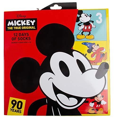 Womens Disney Mickey Mouse 12 Days of Socks Gift Set 90th Anniversary