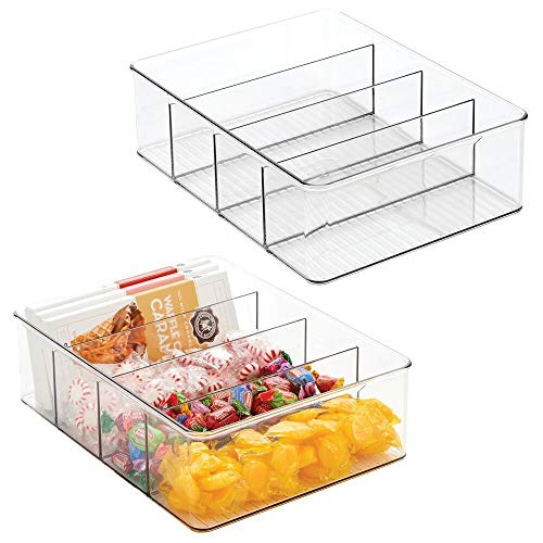 mDesign Plastic Food Storage Organizer Bin Box Container – 4 Compartment Holder for Packets, Pouches, Ideal for Kitchen…