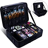 Relavel Makeup Train Case with Mirror 3 Layer Large Size Professional Cosmetic Organizer Make Up Artist Box with Adjustable Shoulder (large black with mirror)