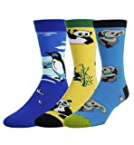 3 Pack Men's Crazy Cool Animals Pattern Novelty Crew Cotton Funny Socks