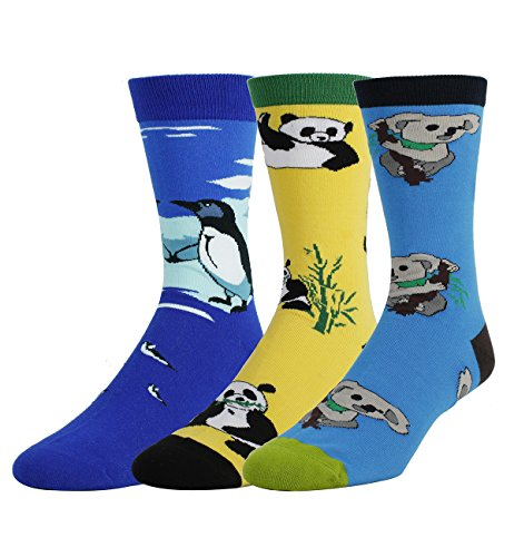 3 Pack Men's Crazy Cool Animals Pattern Novelty Crew Cotton Funny (Naughty Nurse Shoes)