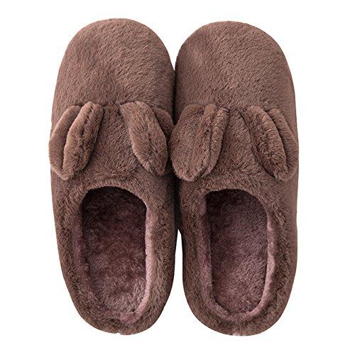 Btrada Hiver Femmes / Hommes Pantoufles En Coton - Belle Maison De Lapin / Intérieur Doublure De Fourrure Douillet Couple Pantoufles Marron