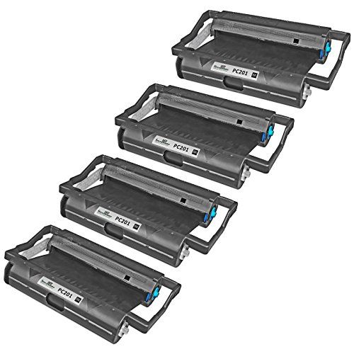 Speedy Inks - 4PK Brother PC201 Compatible Fax Cartridge with Roll for use in Brother Intellifax 1170, 1270, 1270e, 1570MC, 1575MC, MFC-1770, MFC-1780, MFC-1870MC, MFC-1970MC (Cartridge Pc201 Compatible Fax)