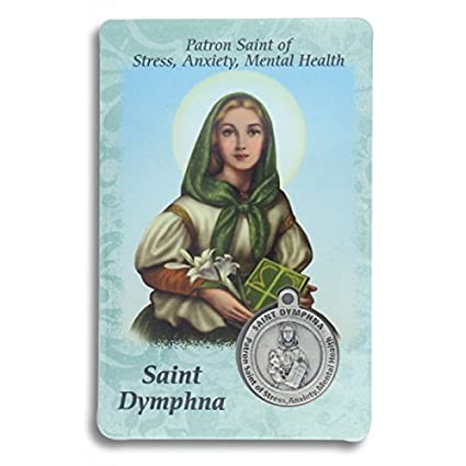 Saint St St  Dymphna Prayer Card Holy Card Cards Patronage Patron Stress  Anxiety Mental Health with Medal