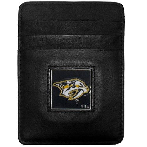 (NHL Nashville Predators Genuine Leather Money Clip/Cardholder Wallet)