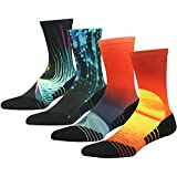 Crazy Socks, HUSO Men's Women's Space Print Athletic Crew Socks for Football, Basketball, Lacrosse & Other Sports 4 Pairs (Multicolor, L/XL)