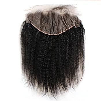 Image of ZigZag Hair Kinky Straight 13x6 Lace Frontal Closure Brazilian Human Hair Pre Plucked Natural Hairline Ear to Ear Full Lace Closure with Baby Hair Natural Color (18inch, Kinky Straight, Free Part) Health and Household