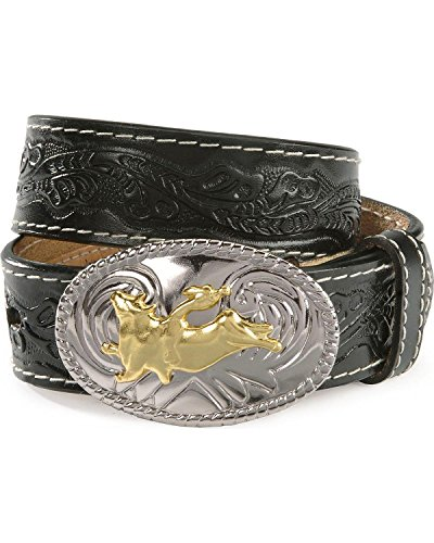 Nocona Boy's Bull Rider Buckle Belt, Black, (Bull Rider Buckle)
