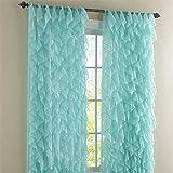 Cascade Sea 63″ Shabby Chic Sheer Ruffled Curtain Panel Review