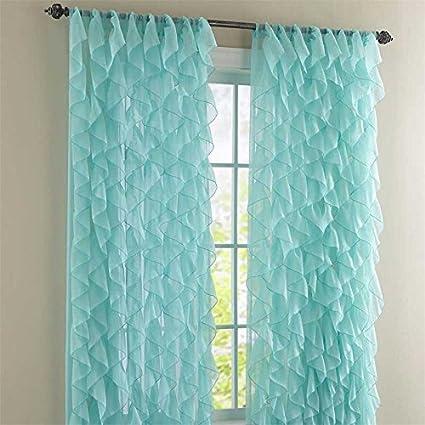 Awesome Cascade Sea 63u0026quot; Shabby Chic Sheer Ruffled Curtain Panel