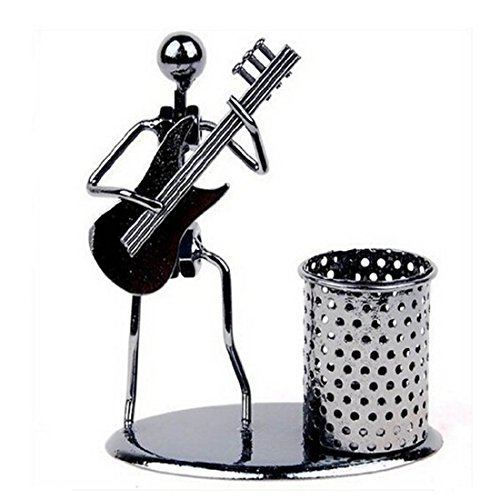 Pen Container Holder Pencil Cup Iron Art Music Figure~Home Office Desk Decor Gift Perfect Father's Day Gift(C74 Electric Guitar)