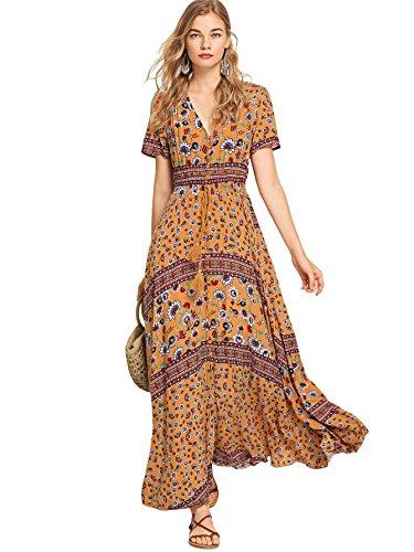Milumia Women Floral Print Button Up Split Flowy Party Maxi Dress (Large, Yellow) (Print Bohemian Dress)