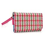 Kroo Clutch Wristlet Wallet Case for Smartphones up to 4-Inch - Non-Retail Packaging - Pink Houndstooth and Magenta