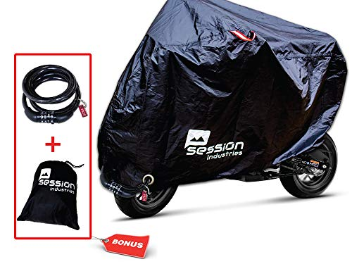 (Motorcycle Cover For Moped Scooter Waterproof Outdoor Bike Storage With Bonus Lock Light Weight Tarp Material UV Rain Dust Protection Dirt Bike 50cc)