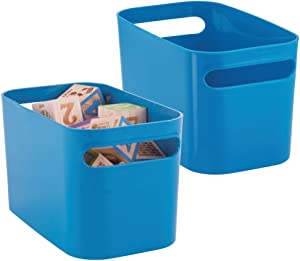"""mDesign Plastic Toy Box Storage Organizer Tote Bin with Handles for Child/Kids Bedroom, Toy Room, Playroom - Holds Action Figures, Crayons, Building Blocks, Puzzles, Crafts - 10"""" Long, 2 Pack - Blue"""