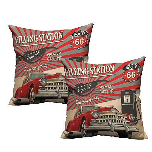 (WinfreyDecor Personalized Pillowcase Cars Poster Style Image Gasoline Station Commercial Kitschy Element Route 66 Print Machine Washable W17 x L17 Vermilion Beige)