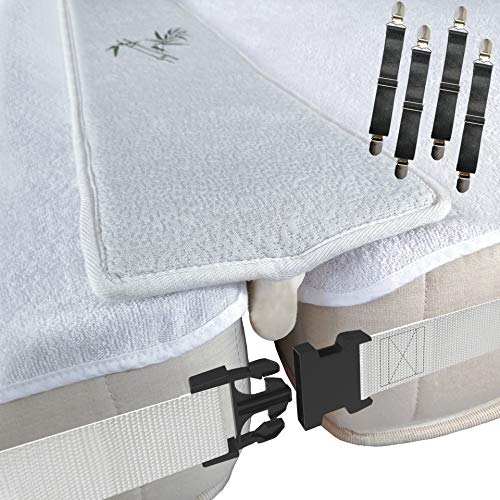 Bamboo Bed Bridge Twin To King Converter Kit - Naturally Breathable and Hypoallergenic Gap Filler for Two Twins Mattress with 2 Inch Wide Connecting Strap and 4 Bed Sheets Fasteners | Storage Bag |