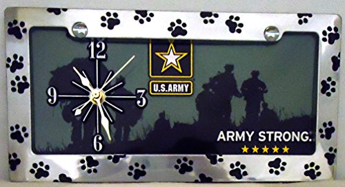 """1 , ARMY Quartz Clock on a , """" U. S. ARMY , with, Army Strong """" , Metal Sign, Enclosed in a Chrome Metal Frame with Black Paw Prints,29B3.0&17A5.5"""