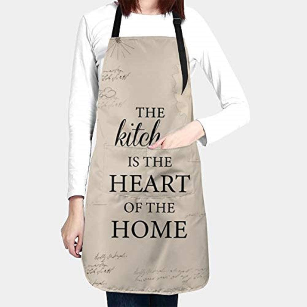 """Funny Cooking Aprons """"The Kitchen Is The Heart Of The Home"""" For Women Men Plus Size With 2 Pockets Waterproof Aprons Avoid Kitchen Grease, Oil Stains Adjustable Apron For Cooking Gardening Cosmetology"""