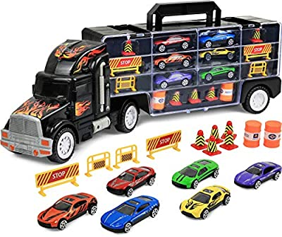 "Click N' Play Transport Car Carrier Truck ,Loaded with Cars, Road Signs and More. Hold Up to 28 cars. Jumbo 22"" Long"
