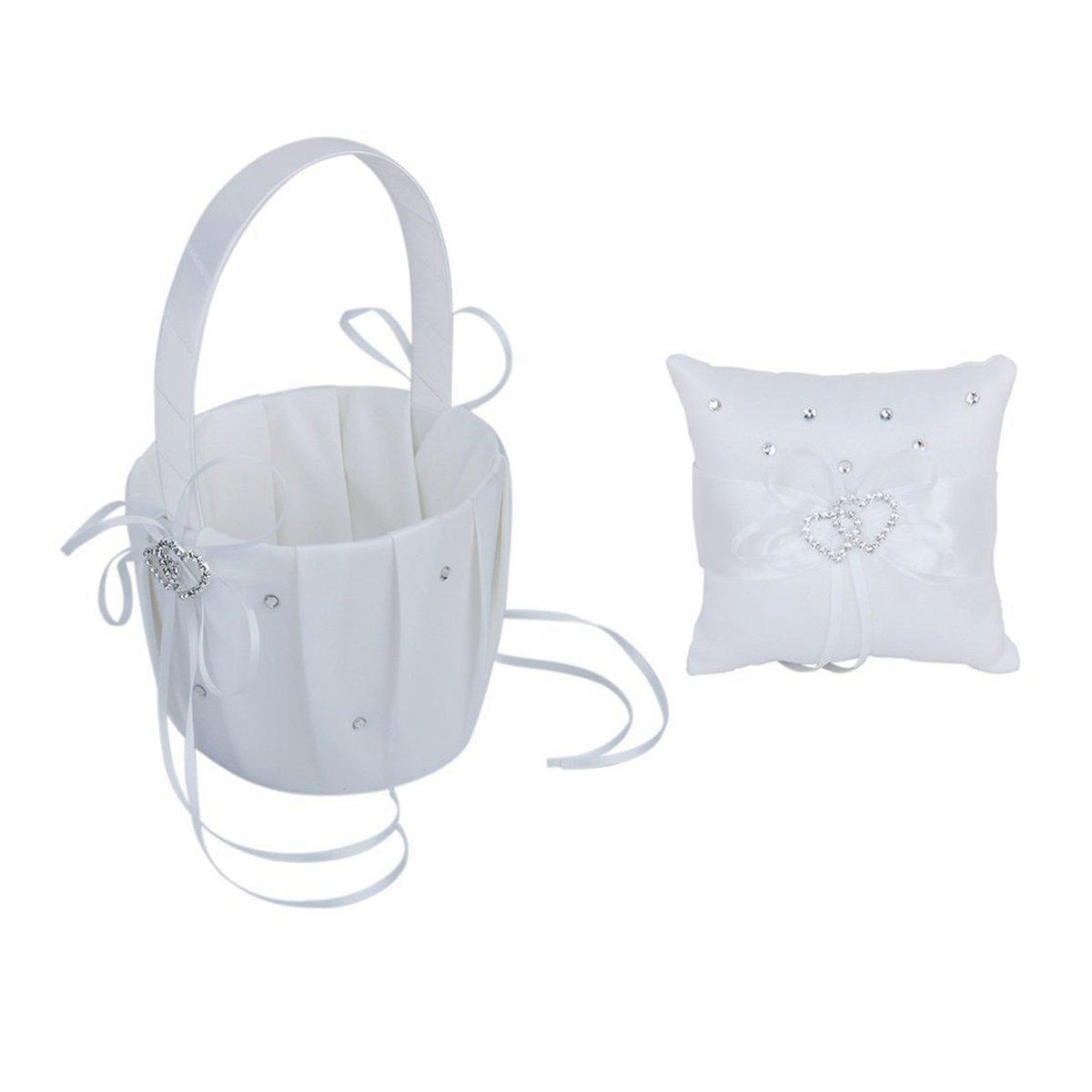 Pixnor Sposa elegante ragazza di fiore cestino doppio cuore anello cuscino