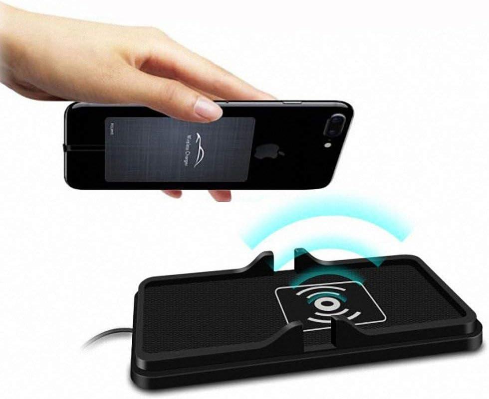 MASO - Base de Carga inalámbrica 2 en 1 para salpicadero de Coche con QI de Carga rápida, Antideslizante, de Silicona, para iPhone X, iPhone 8, iPhone 8 Plus, Samsung Galaxy S9, S8, S7e