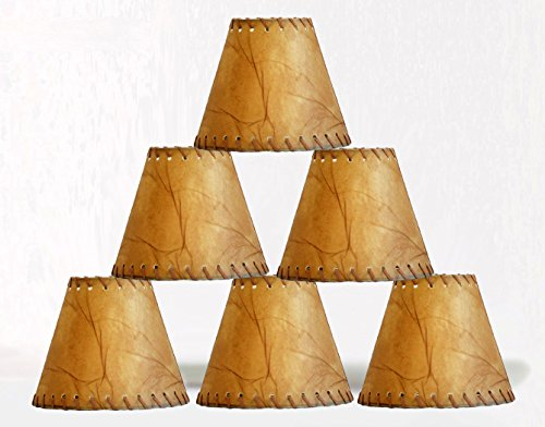 New Urbanest Faux Leather Chandelier Lamp Shade Hardback,Laced Trim 3x6x5, Set of 6 (Faux Wicker Lamp)