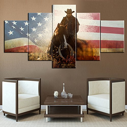 Cowboy Framed Canvas - Horse Painting Native American Cowboys Decor USA Flag Background Wall Art for Living Room Pictures for Walls Home Decor 5 Piece Canvas Modern Artwork Giclee Wooden Framed Ready to Hang(60''Wx32''H)
