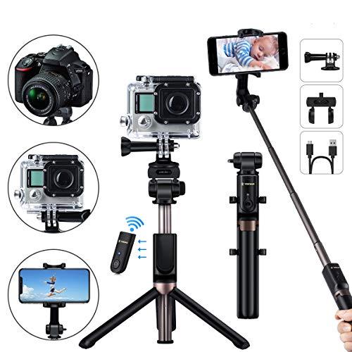 YOKKAO UpgradedWaterproof Selfie Stick Tripod Selfie Stick for Go Pro with Wireless Remote Control Selfie Stick for Gopro Compatible with Bluetooth Enabled Smartphones, Gopro, Digital Cameras