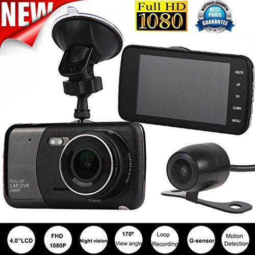 4'' Dual Lens Dash Cam 1080P HD Car DVR Vehicle Video Recorder With G-Sensor And Night Vision Function From ARINLA